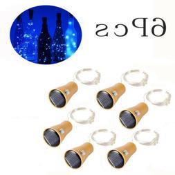 6x Wine Bottle String Fairy Lights 10 LED Solar Powered Copp