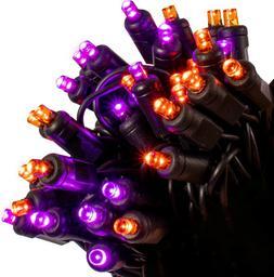 70 LED Orange & Purple String Lights on Black Wire - Indoor/