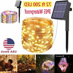 72ft 200 LED Outdoor Solar String Lights Copper Wire Fairy L