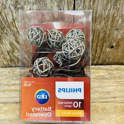 7'L Phillips LED Rattan Ball String Lights- 10 White Light