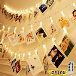 8 Modes 40 LED Photo Clip String Lights with Remote, Indoor