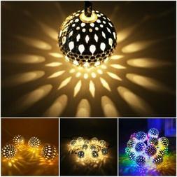 8 Modes Solar String Lights Moroccan Metal Ball Garden Fairy