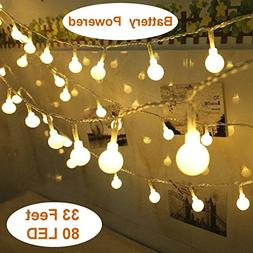 Yesee 33FT 80 Leds Battery Operated LED String Lights, Outdo