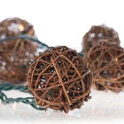 8ft Rattan Ball Grapevine String Lights  Indoor Outdoor Ligh
