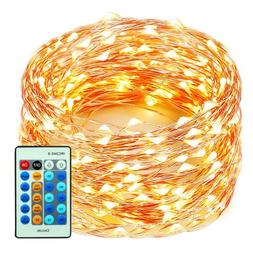 99 Feet 300 LEDs Copper Wire String Lights Dimmable Remote C