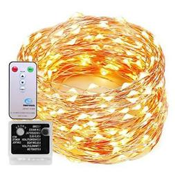 Decute 99 Feet 300 LEDs Copper Wire String Lights 8 Modes Re