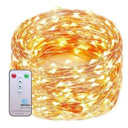 Decute 99 Feet 300 LEDs Copper Wire String Lights 8 Modes wi