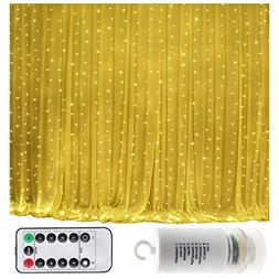 Battery Operated 300 LED Curtain String lights w/ Remote & T