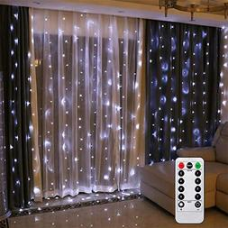 Battery Operated Curtain String Lights with Remote Timer Chr