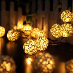 Battery Power Rattan Ball String Fairy Light Seasonal Lighti
