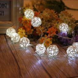 Battery Powered Rattan Ball String Fairy Light Seasonal Ligh