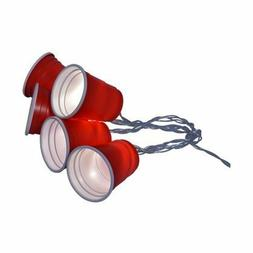 Battery-Powered Red Plastic Party Cup String Lights 5-ct. Pa