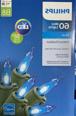 New 60ct Philips Blue LED Lights with Green Wire Indoor outd