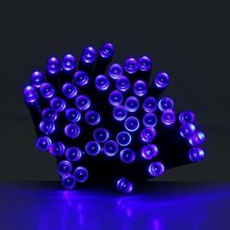 blue solar powered holiday string lights 60