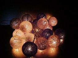 Brown tones cotton ball string lights for Patio,Wedding,Part