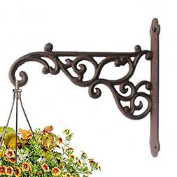 "Cast Iron Plant Hook Hanger 8.5"" Deep Wall Mounted Outdoor I"
