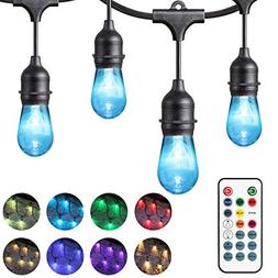 Chende 24ft Color Changing Outdoor String Lights for Patio,