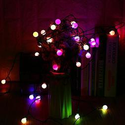 Christmas Lights, 90 LED 65.6ft RGB Globe String Lights, 7 C
