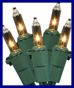 Set of 100 Clear Mini Twinkle Christmas Lights - Green Wire