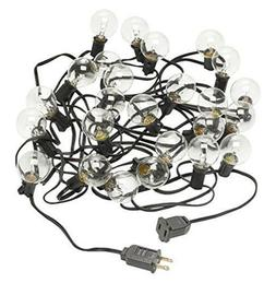 Radiance Clear String Globe Lights, 25 ft, Black Wire, G40 B