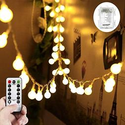 WERTIOO 33ft 100 LEDs Battery Operated String Lights Globe F