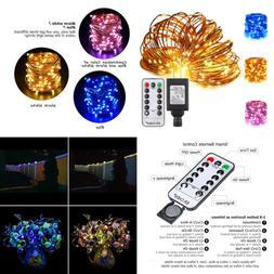 Color Changing LED String Lights Plug In W Remote 39.5Ft 100