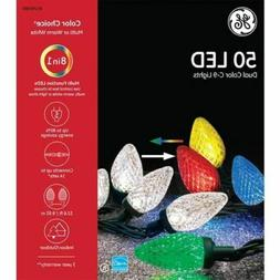 GE Color Choice 50-Count C9 32.6-ft Multicolor White LED Chr