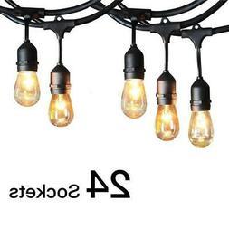 Commercial Weatherproof 48' FT Outdoor String Lights 24 Bulb
