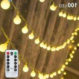 Cotton Ball Fairy LED String Lights 100 LEDs 50 FT Plug in w