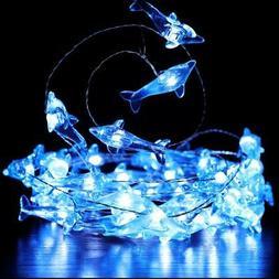 Crystal Dolphin Decorative String Lights, 18.7 Ft 40 LED USB