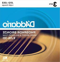 D'Addario EJ16 Light Gauge Phosphor Bronze Strings, 3 Set Pa