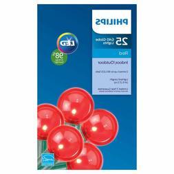 Philips D4 25 ct LED G40 Globe String Lights- Red Valentine