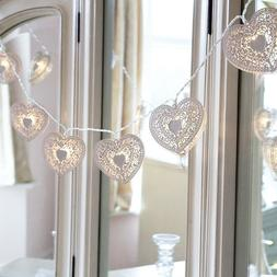 White Decorative Heart String Lights for Bedroom 20 Soft LED