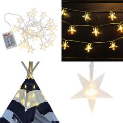 Decorative LED Star String Lights Hanging Over 10 Ft Long Do