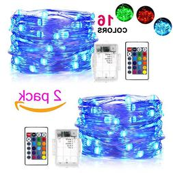 BOHON LED Fairy Lights Battery Operated 2 Pack Multi Color C