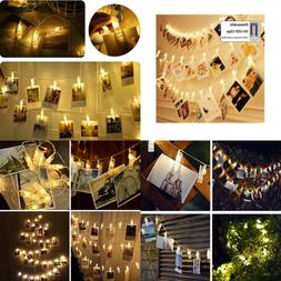 Dimmable 50LED Photo Clips Decorative Lights String Holder F