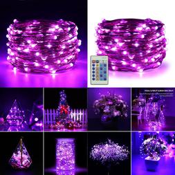 Dimmable LED String Lights Plug In 33Ft 100 Waterproof PURPL