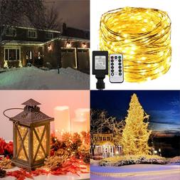Dimmable LED String Lights Plug In W Remote&Timer 30M/100Ft