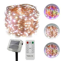 ErChen Dual-Color Solar Powered LED String Lights, 100FT 300