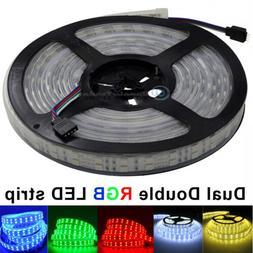 Dual Double 2 Row RGB 5M 600Leds 5050 IP66 Led Strip Lights