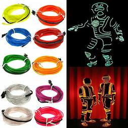 Flexible LED Light EL Wire String Strip Rope Glow Decor Neon