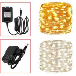 Electric EU Plug In Silver Copper Micro Wire 300 LED String