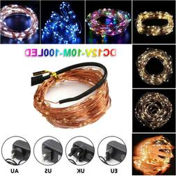 Electric Plug-In Silver Copper Micro Wire 10M 100 LED String