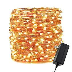 ER CHEN LED String Lights Plug in, Warm White Copper Wire St