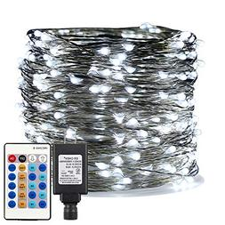 ER CHEN Cool White LED String Lights Plug in, 99ft 300 LED L