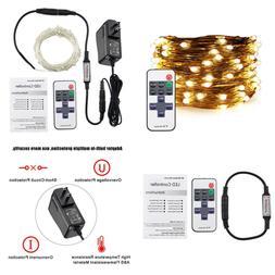 ER CHEN Warm WHITE LED String Lights Plug In 33Ft 100 Christ