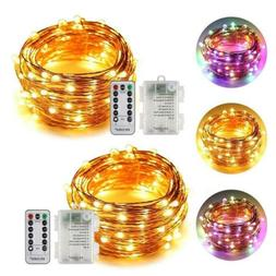 ErChen Dual-Color Battery Operated Led String Lights Silvery