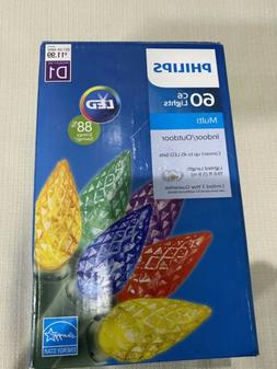 New 60ct Philips LED Faceted C6 Lights Multicolor Green Wire