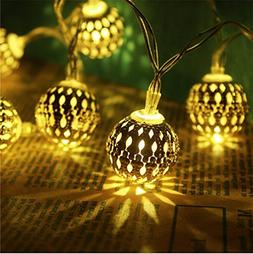 Fairy Decorative String Lights 20 LED Plug-in Hollow Metal B