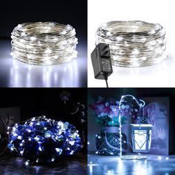 Fairy Lights Plug In 33Ft/10M 100 LED SILVER Coated Copper W